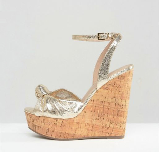 ASOS 'Traffic Jam' gold cork wedges