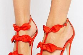 Public Desire red bow sandals