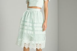green broderie skirt and top