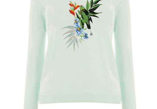 Oasis parakeet embroidered knit