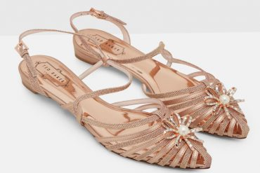 Ted Baker rose gold Arunn strappy flats
