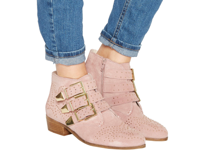 Office 'Lucky Star' studded boots in pale pink suede