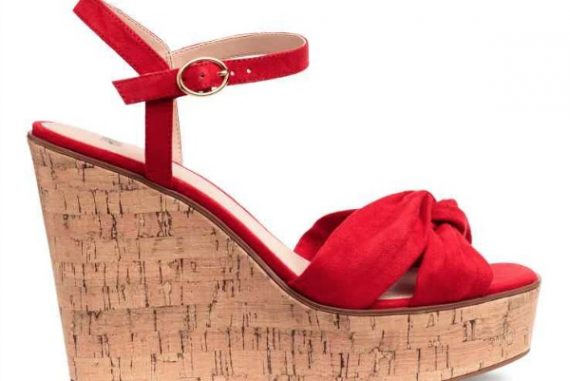 H&M red wedge heeled cork sandals