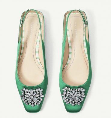 Zara green satin flat slingbacks