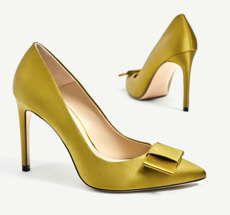 Zara satin court shoes with bow