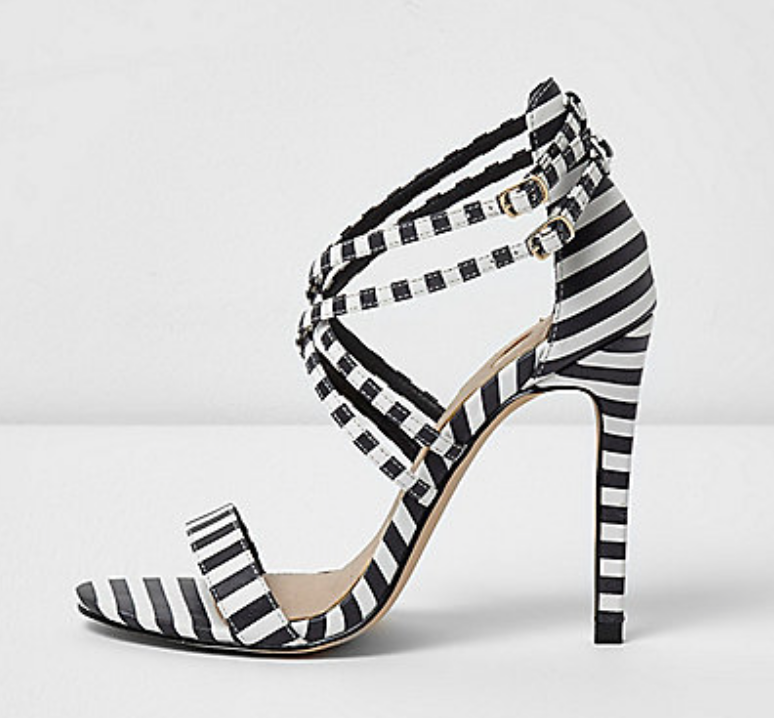 River Island black and white stripe caged sandals