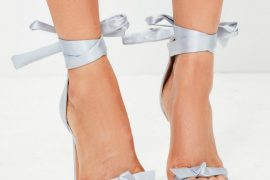 Missguided grey bow wrap-around sandals