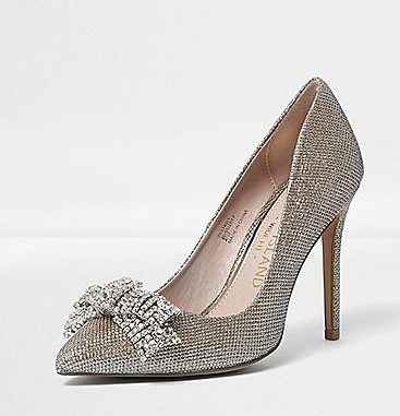 River Island gold bow-embellished bow court shoes