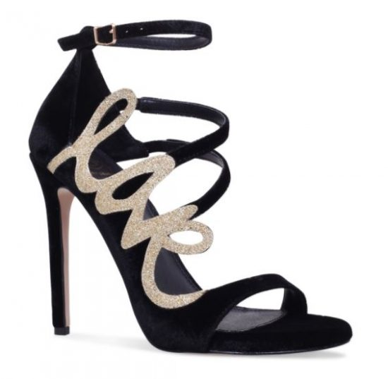 KG Kurt Geiger black and gold 'Hex' sandals