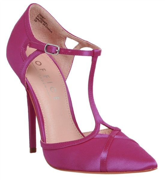 Office Hierarchy Pink Satin T Bar Court Shoes