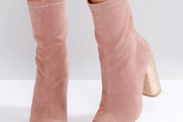 Public Desire Universe Pink Crackled Heeled Ankle Boots