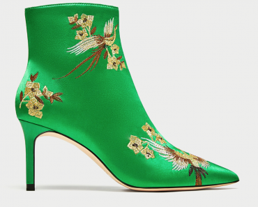 Zara green satin ankle boots with embroidery