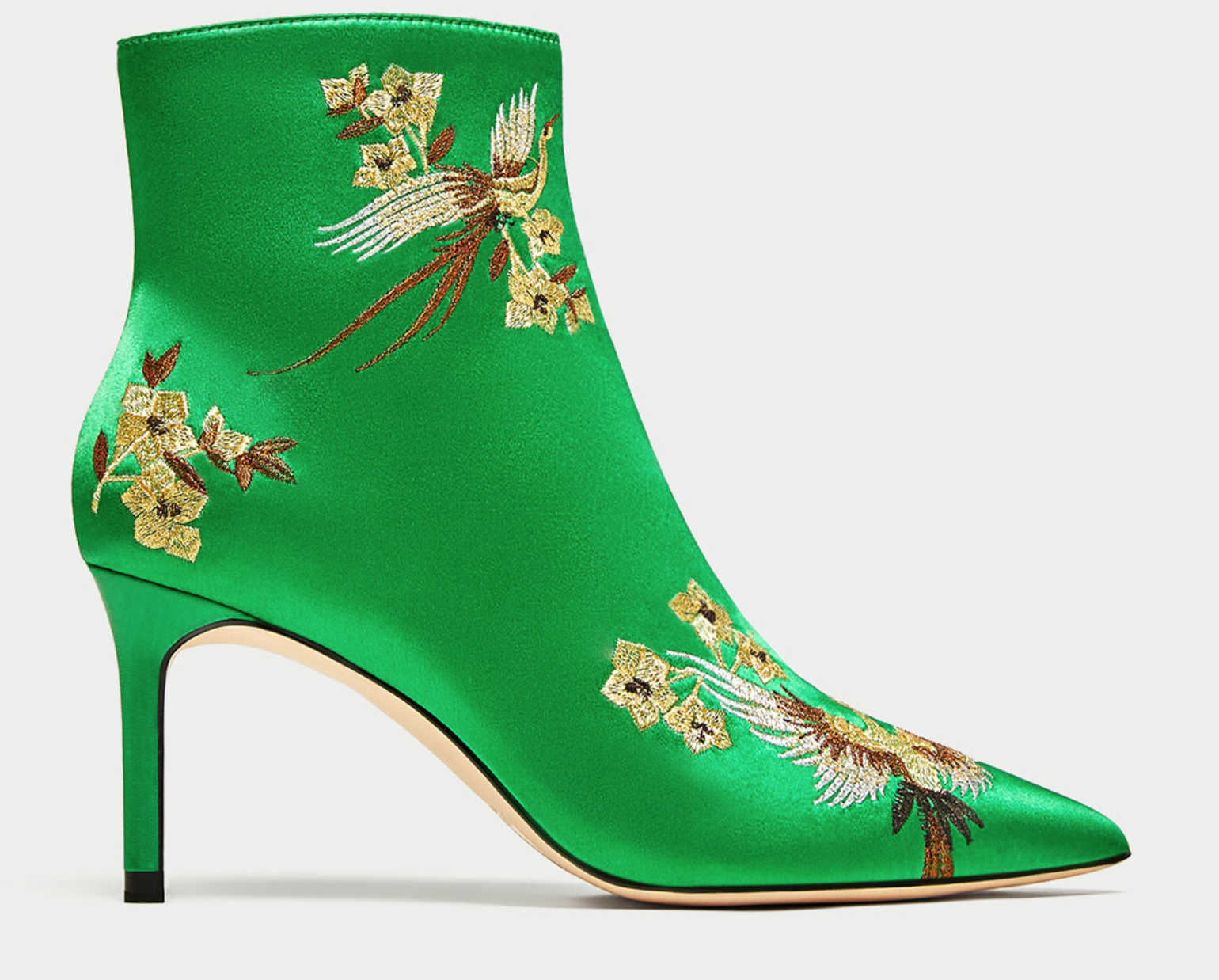 b752cf62ab7 Zara green satin ankle boots with embroidery