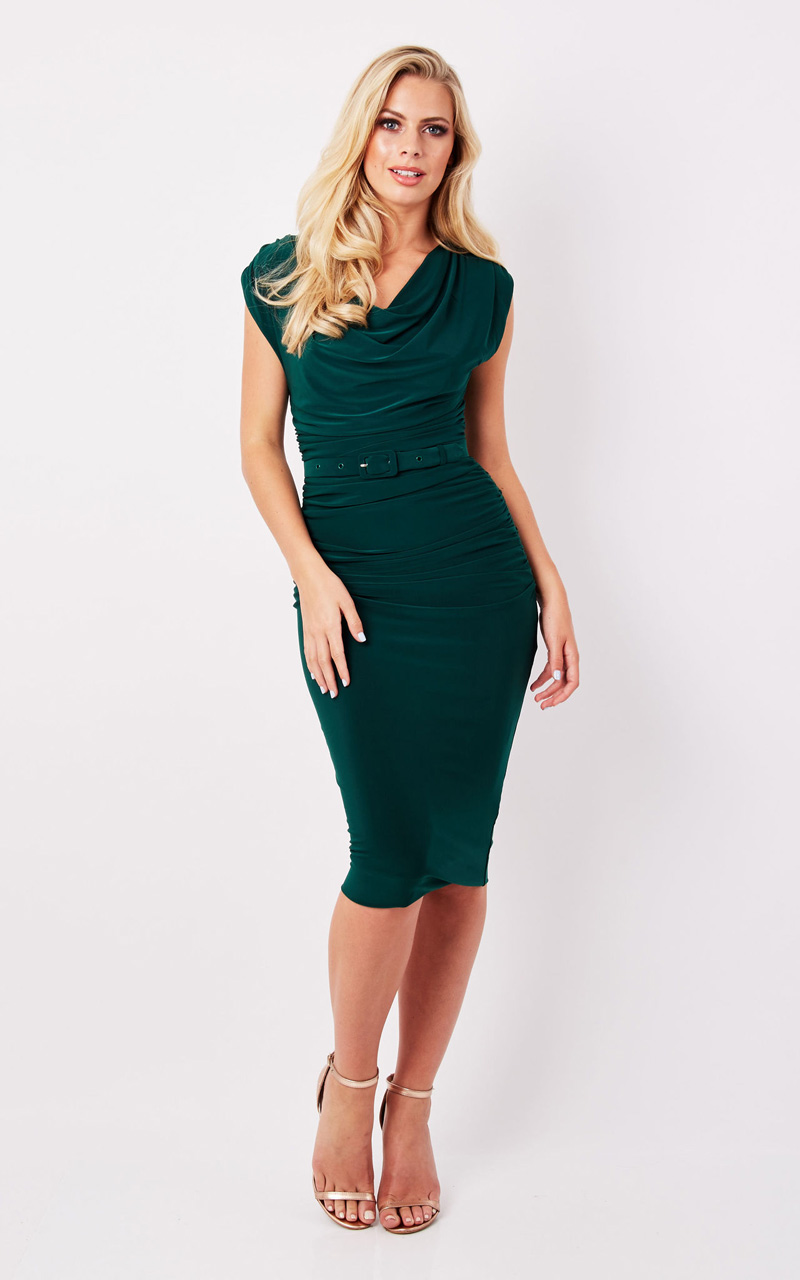 Zoe Vine Billie Green Ruched Dress