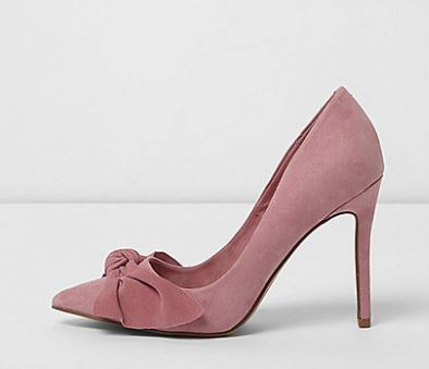 River Island Pink Bow Court Shoes