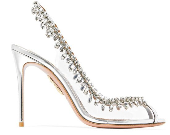 Aquazzura Temptation embellished Perspex and leather slingback pumps