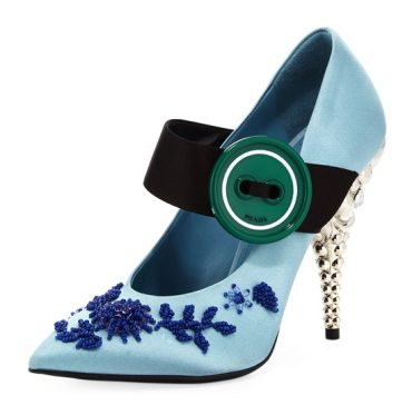 Prada Embroidered Satin Mary Jane Pumps