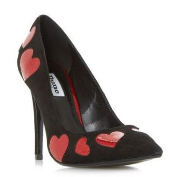 Glitter Heart Pointed Toe Court Shoe