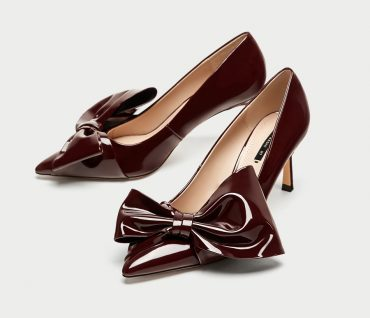 Zara patent bow court shoes