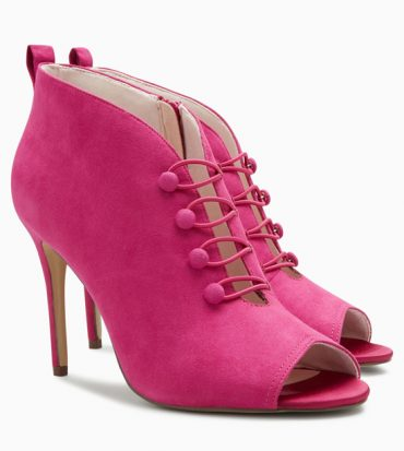 Pink button peep toe boots