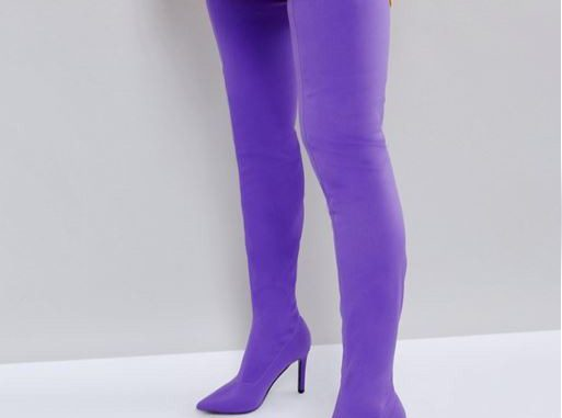 ASOS KITTY Purple Stretch Over The Knee Boots