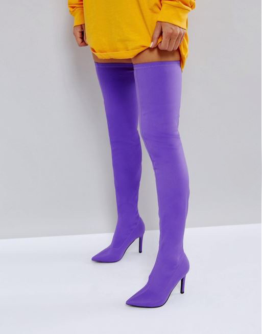 c7aa8acf217 ASOS KITTY Purple Stretch Over The Knee Boots