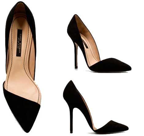 Zara asymmetric court shoes in black