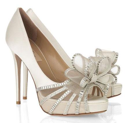 Beautiful Bridal Shoes Valentino Bow Embellished Satin Sandals