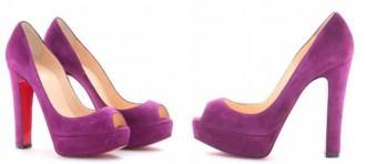 Purple peep toe platform shoes by Christian Louboutin