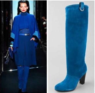 Blue suede knee high heeled boots by Diane Von Furstenberg