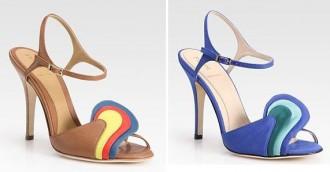 Blue grossgrain sandals with colurblock detail by Fendi