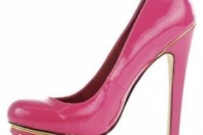 Pink high heels with studded platform