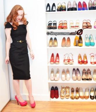 Black dress with pink platform shoes