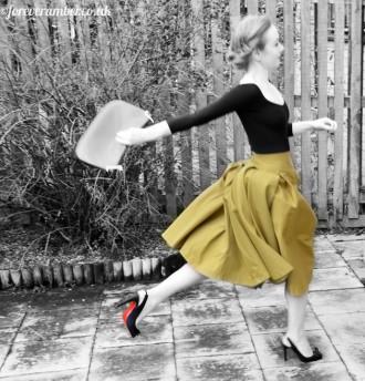 Yellow skirt and Christian Louboutin shoes