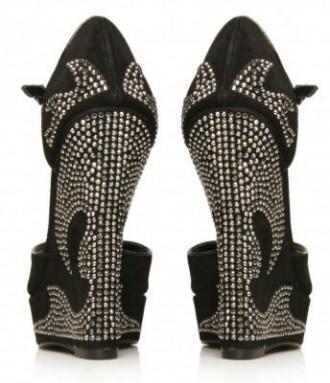 black suede wedges with embellished heels