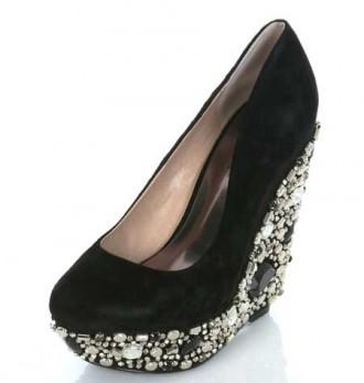 Black embellished wedge heel shoes