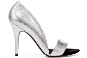 silver asymmetric sandals from Zara