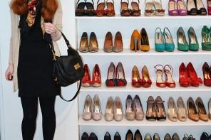 Black mini dress and high heels