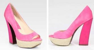 pink suede platform pumps