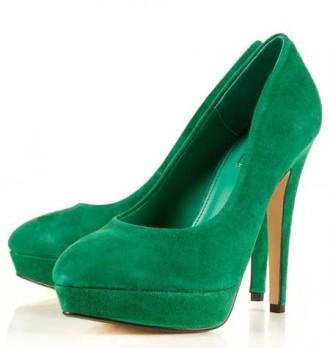 green suede platform shoes