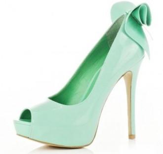 mint green peep toe bow shoes
