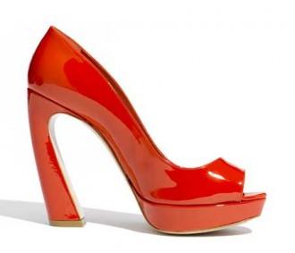 Miu Miu red curve heel shoes