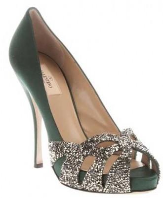 green silk Valentino peep toes