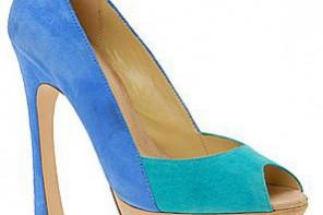 Aldo Bolus turquoise and blue colourblock peep toe shoes