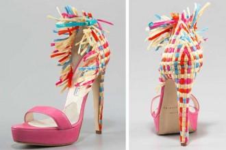 Brian Atwood colourblock raffia shoes