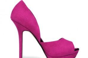 pink asymmetric peep toes