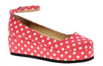 red polka dot platform shoes