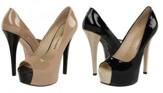 tan and black peep toes