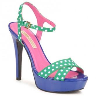 green polka dot platform sandals with blue platform