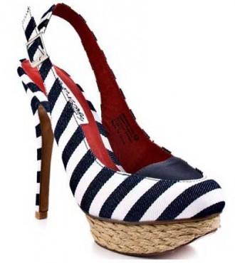 stripe slingback shoes